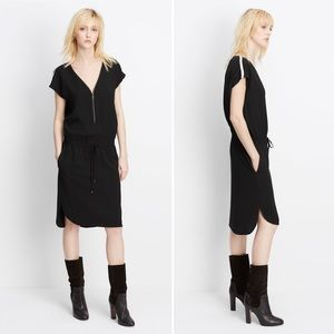 NWOT Vince Zip-neck Contrast Trim Drawstring Dress
